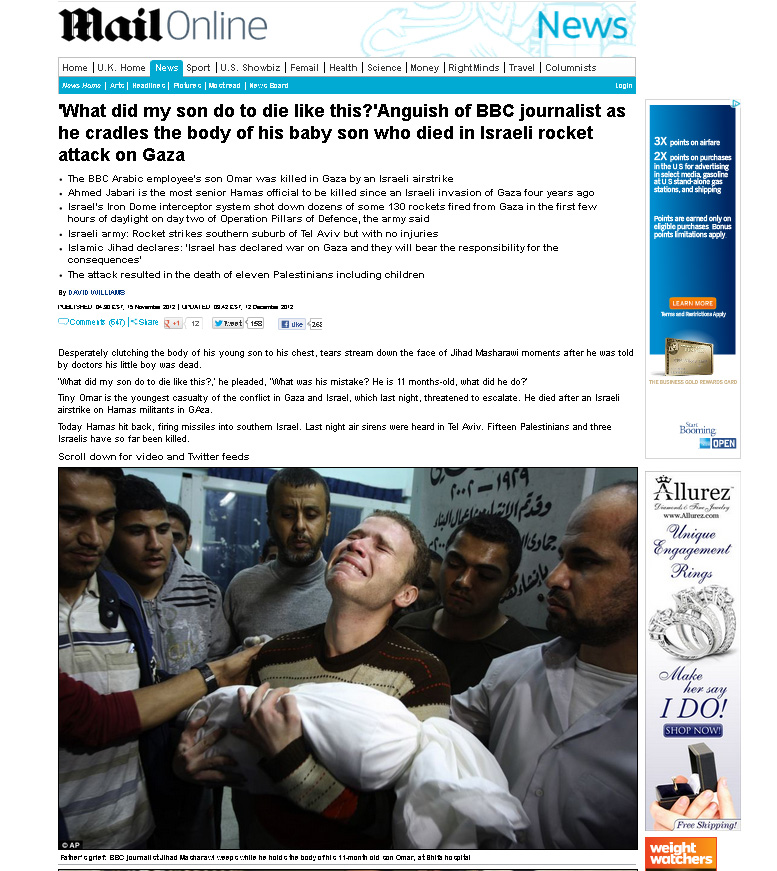 daily mail says israel killed baby when un confirms it was hamas rocket
