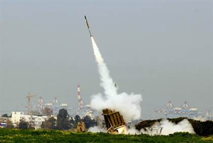 iron dome stops rocket above tel aviv