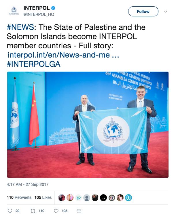 1ffa71fc9c48 Interpol Admits Palestinians Over Israeli